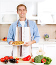 Man Cooking Pizza Stock Photography