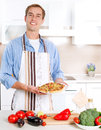 Man Cooking Pizza Royalty Free Stock Photo