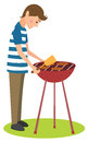 Man cooks barbecue Royalty Free Stock Photos