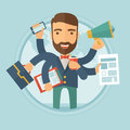 Man coping with multitasking vector illustration. Royalty Free Stock Photo