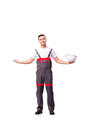 The man in coveralls isolated on white Royalty Free Stock Photo