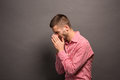 Man covering eyes his face Royalty Free Stock Photo