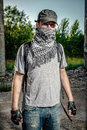 Man covering face with a scarf Royalty Free Stock Photo