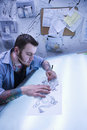 Man creating tattoo. Royalty Free Stock Photography