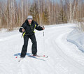 The man on the cross-country skiing Stock Images