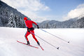 Man cross country skiing front winter landscape Royalty Free Stock Images