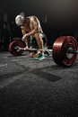 Man cross strongman training - heavy deadlift workout Royalty Free Stock Photo