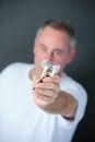 Man crushing packet cigarettes stop smoking concept