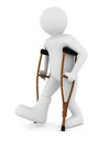 Man crutches white background d image Stock Photo
