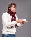 Man with cup of hot coffee or tea handsome Stock Photos