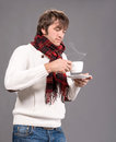 Man with cup of hot coffee or tea handsome Stock Images