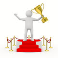 Man with cup on podium Royalty Free Stock Image