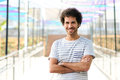 Man with curly hairstyle smiling Royalty Free Stock Image