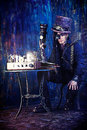 Man cyberpunk portrait of a steampunk over grunge background Royalty Free Stock Photos