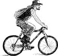 Man on a cycle vector image of riding bycicle Stock Photography