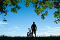 Man cycling silhouette Royalty Free Stock Photography