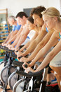 Man Cycling In Spinning Class Stock Image