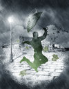 image photo : Man dancing in heavy rain