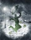 Man dancing in heavy rain