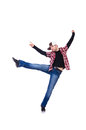 Man dancing modern dances on white Royalty Free Stock Photography