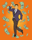 Man dancing with money flying around. Vector illustration in retro comic pop art style.