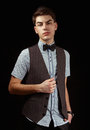 Man in dark waistcoat young Royalty Free Stock Images