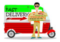 Man delivering pizza a pizzas on a white background Stock Image