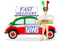 Man delivering pizza a pizzas on a white background Stock Photos