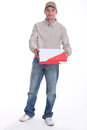 Man delivering pizza to a customer Royalty Free Stock Photo