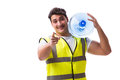 The man delivering water bottle isolated on white