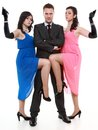 Man detective secret agent criminal with two women gun and sexy spies isolated on white background Royalty Free Stock Photos
