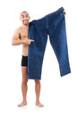Man in dieting concept with oversized jeans Stock Photography