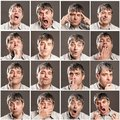 Man with different expressions and gestures