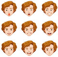Man with different expressions on his face Royalty Free Stock Photo