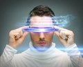 Man with digital glasses Royalty Free Stock Image