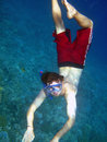 Man dive in deep blue Stock Photography