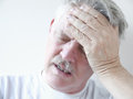 Man with dizziness and head pain Royalty Free Stock Image