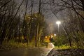 Man with dog in front of a building in a Spooky park at a rainy night Royalty Free Stock Photo