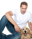Man with dog golden retriever puppy Royalty Free Stock Photography