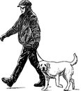 Man and dog vector drawing of the walking with the Stock Images