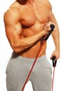 Man doing fitness exercise handsome with muscular body Royalty Free Stock Photos