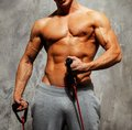 Man doing fitness exercise handsome with muscular body Royalty Free Stock Photography
