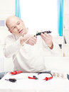 Man doing minor repair at home Royalty Free Stock Photo