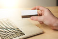 The man doing online shopping with credit card Royalty Free Stock Photo