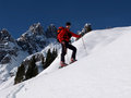 Man doing ski touring ascending hill Royalty Free Stock Photography