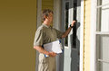 Man doing survey or petition work door-to-door Royalty Free Stock Photos