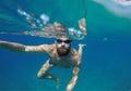 Man doing underwater selfie shot with selfie stick