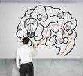 Man drawing brain Royalty Free Stock Photo