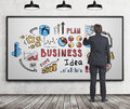 Man drawing business idea sketch, whiteboard Royalty Free Stock Photo