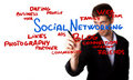 Man drawing Social Networking schema Stock Images